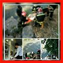 عملیات نجات آتش نشانان در پی سقوط در رودخانه زرجوب رشت